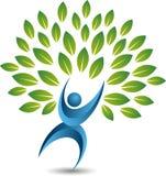 Tree man logo. Illustration art of a tree man logo with isolated background Royalty Free Stock Photos