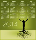 2014_tree_man_roots_cal.jpg. 2014 Man with Roots Calendar for Home, Office or Website Stock Photography
