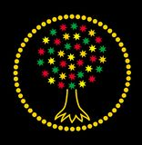 Mandala. The tree of life of the stars. Graphic art colorful graceful drawing on a black background. Vectore. royalty free illustration