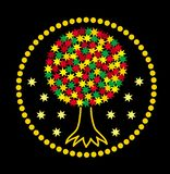 Mandala. The tree of life of the stars. Graphic art colorful graceful drawing on a black background. Vector royalty free illustration