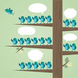 Tree with many birds. Tree with many birds and one flying away while the others are waving the bird goodbye. Vector illustration Stock Image