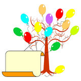 A tree with many colorful balloons and a big blank Stock Images