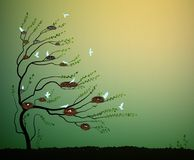 Tree with many nests and flock of blue birds flying, spring nesting,. Vector Stock Photography