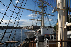 Tree masted boat on the Baltic sea in Stockholm Royalty Free Stock Image