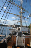 Tree masted boat on the Baltic sea in Stockholm Stock Image