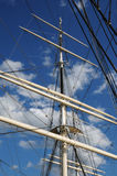Tree masted boat on the Baltic sea in Stockholm Royalty Free Stock Photography