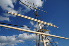Tree masted boat on the Baltic sea in Stockholm Stock Photo