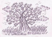 Tree of meadows. A hand drawing using pencil and hatching technique of a tree in a meadow in a windy cloudy dusk, representing how beautiful the world is even if Royalty Free Stock Photos