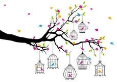 Tree med fåglar och fågelburar, vektor Royaltyfria Foton