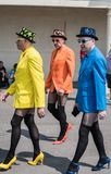 Tree mens are walking to enjoy a Blackpool Pride festival. Blackpool, United Kingdom - 09.06.2018 Tree mens are walking to enjoy a Blackpool Pride festival Royalty Free Stock Photos