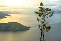A Tree in the Middle of Lake Toba Golden Sunrise View stock image