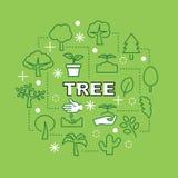 Tree minimal outline icons Stock Photo
