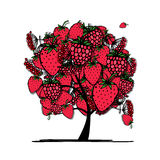 Tree with mix of red berries, sketch for your Stock Photography