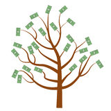 Tree with money. Dollars . Flat design, isolated white background. Vector illustration, clip art Royalty Free Stock Photography
