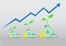 Tree and money is grow up. Tree with money is grow up and blue arrow is high up Royalty Free Stock Photo