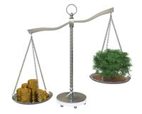Tree and money to balance scales Royalty Free Stock Image