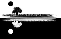 Tree and moon. Illustration in black and white Stock Photography