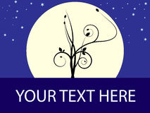 Tree_moon sign. Tree design with large moon behind in starry sky and place for personal message Vector Illustration