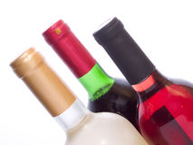 Tree multicolored wine bottles isolated stock photography