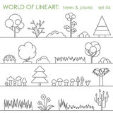 Tree natural plant graphical lineart set. Line art vector Royalty Free Stock Image