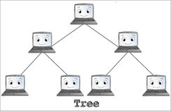 Tree network topology Stock Image
