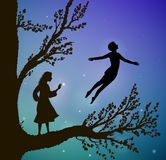 Tree in the night, magic fly, boy and gil on the big tree, way to the wonderland,. Vector Stock Photos