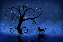 Tree at night with stars and a cat. A black tree with stars in the dark starry night. A black cat with golden eyes strolls by. Abstract Christmas design vector illustration