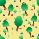 Tree not steady music note bird flower seamless stock illustration