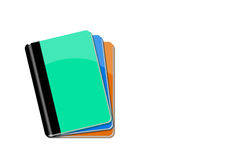 Tree notebook  on white background. Tree notebook  on white background,green,blue, orange Royalty Free Stock Photography