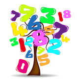 Tree Number. Abstract background with tree and numbers balloons vector illustration