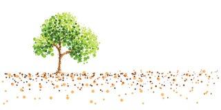 Tree och malt royaltyfri illustrationer