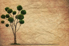 Tree with old grunge paper vintage Royalty Free Stock Photography