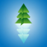 Tree origami with reflection Stock Photo
