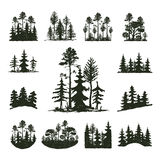 Tree outdoor travel black silhouette coniferous natural badge, tops pine spruce branch cedar and plant leaf abstract. Tree outdoor travel black silhouette logo vector illustration