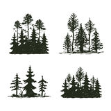 Tree outdoor travel black silhouette coniferous natural badge, tops pine spruce branch cedar and plant leaf abstract. Tree outdoor travel black silhouette logo stock illustration