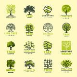Tree outdoor travel green silhouette forest badge coniferous natural badge tops line spruce vector. Tree outdoor travel green silhouette forest logo coniferous stock illustration