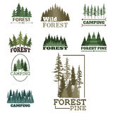 Tree outdoor travel green silhouette forest badge coniferous natural logo badge tops pine spruce vector. Stock Images