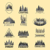 Tree outdoor travel green silhouette forest badge coniferous natural logo badge tops pine spruce vector. Tree outdoor travel green silhouette forest logo royalty free illustration