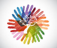 Tree over diversity hands circle Royalty Free Stock Photo