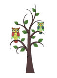 Tree with owls Royalty Free Stock Photo
