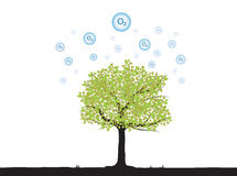 Tree with oxygen. Floating up to atmosphere stock illustration