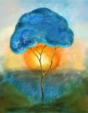 Tree painting. Painting of single tree in the morning sun with butterflies stock illustration