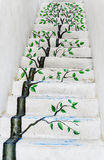 The tree painting on concrete stairway. Leading to a two floor Stock Photography