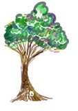 Tree painting icon Royalty Free Stock Photography