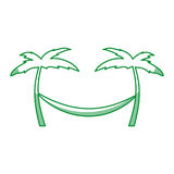 Tree palm beach with hammock Stock Photos