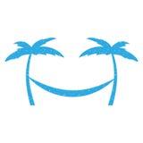 Tree palm beach with hammock Royalty Free Stock Image