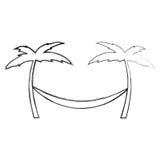 Tree palm beach with hammock Stock Photo