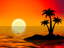 Tree palms. On island over red sky Stock Image