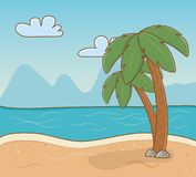 Tree palms beach scene. Vector illustration design royalty free illustration
