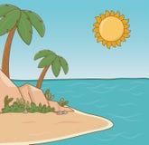 Tree palms beach scene. Vector illustration design stock illustration